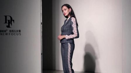 2018秋装新款 欧美时尚气质长袖修身格子西装外套+高腰铅笔裤套装