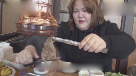 韩国大胃王秀彬美食外景吃播, 秀彬带你吃韩式烤肉, 大口吃就是爽