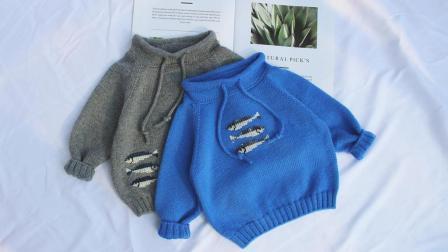 【大渔】卫衣式样抽绳毛衣 新生儿羊绒毛衣棒针编织教程(下)