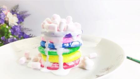 甜蜜棉花糖彩虹蛋糕, 粘土手工小蛋糕可还记得吗?