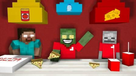 我的世界: 怪物学院 在披萨店工作 搞笑动画