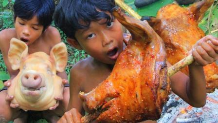 户外烤猪头, 色美皮辣肉香, 这就是农村孩子最渴望的美味了