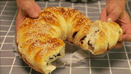 蜜豆面包的做法, 柔软香甜, 简单易做, 2分钟就学会