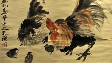 2分钟展示写意国画公鸡的画法, 雅俗共赏的美术作品, 看完就学会