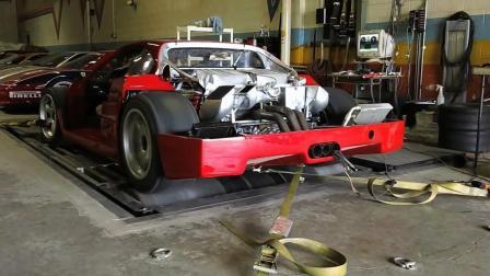 价值2000万的法拉利F40LM赛车马力机上做测试, 这声音真大