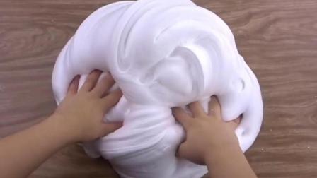 1分钟揭秘史莱姆制作过程, 无硼砂创意DIY拉面馒头泥, 水晶泥好玩不沾手