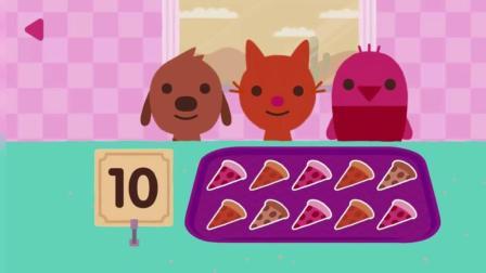 小宠物狗狗 小鸟 小猫认知数字吃水果蛋糕 早教益智游戏