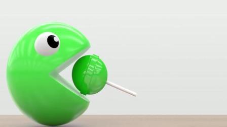 益智: 幼儿颜色启蒙, 吃豆人3D球用棒棒糖学颜色识英语