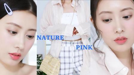 自然粉色日系减龄妆容+穿搭| 森绘梨佳