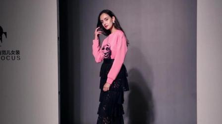 2018秋装新款欧美时尚圆领个性印花卫衣连衣裙+蕾丝蛋糕裙套装