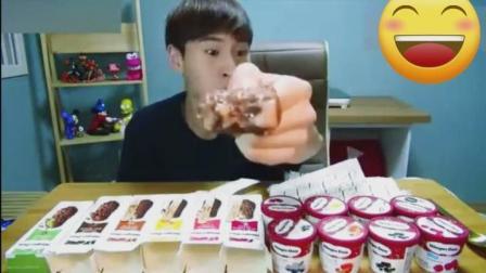 韩国大胃王奔驰哥吃哈根达斯冰淇淋, 土豪吃播吃的就是不一样