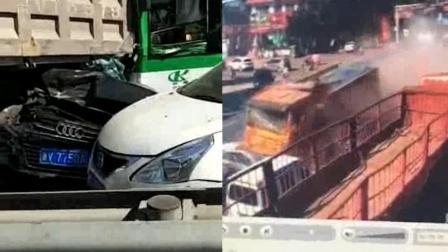 """山东一货车失控乱撞, """"碾压式""""横扫一排车, 致多车受损多人受伤"""