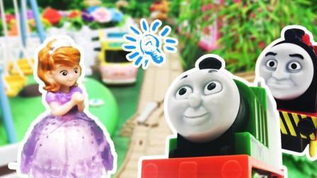 兜糖托马斯小火车玩具 托马斯培西詹姆士小火车帮索菲亚公主找神秘桥梁