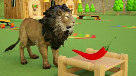 益智: 幼儿早教启蒙, 和狮子老虎猎豹用儿童滑板车吃水果学颜色