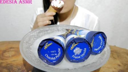 国外女吃货, 吃4个甜筒冰淇淋, 发出咀嚼声, 吃得太馋人了