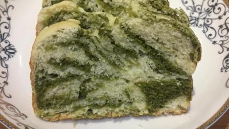 1勺抹茶粉1碗面粉, 做出大理石花纹的吐司面包, 美味又漂亮