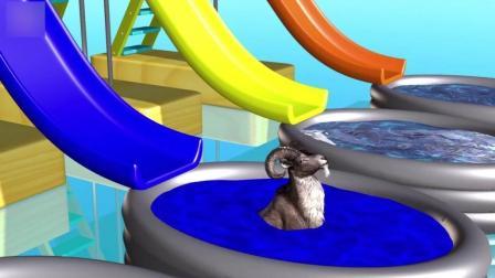 益智: 幼儿颜色启蒙, 猩猩为动物宝宝驾车准备水彩, 山羊滑滑梯学颜色识英语