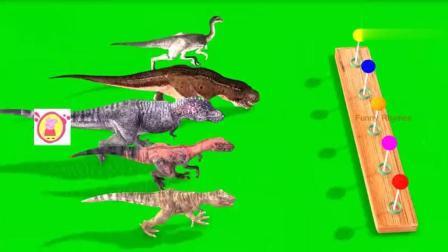 幼儿色彩启蒙: 不同种类的恐龙排队吃彩虹棒棒糖