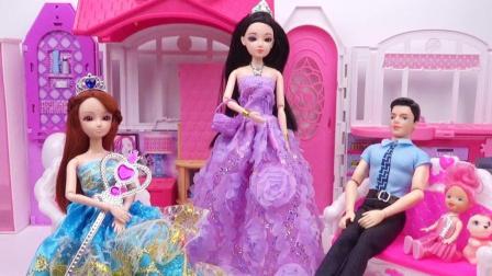 芭比娃娃用魔法换装紫色晚礼服, 丽丽变成了高贵的女神