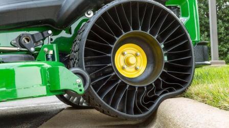 不用充气的轮胎, 还不怕钉子, 减震效果杠杠的!