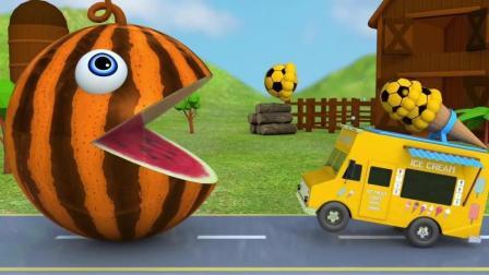 益智: 幼儿趣味早教, 吃豆人VS足球冰淇淋车学英语识颜色
