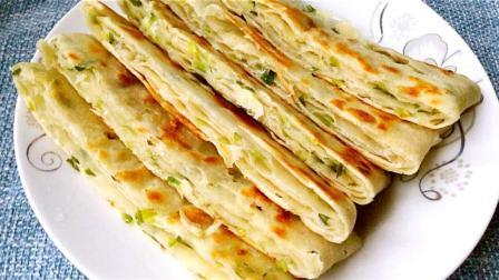 教你做香酥松软的千层葱香饼, 简单易学, 比早餐店里卖的还好吃!