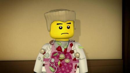《乐高幻影忍者》赞辛苦做了一桌子菜, 全被师兄们扔来扔去, 太浪费了!