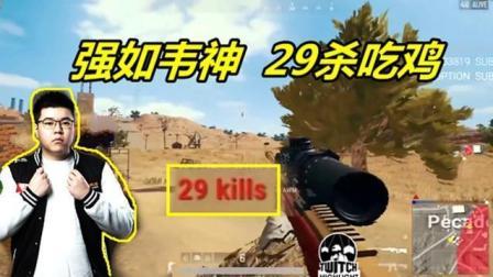 绝地求生: 强如韦神的玩家, 用一把AWM统治王者局, 29杀自信吃鸡