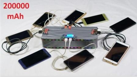 老外自制充电宝, 使用90节5号电池, 能充6个手机!