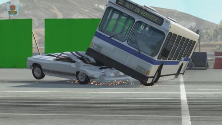 亚当熊 车祸模拟器: 大巴高空坠落正好砸中轿车的碰撞测试