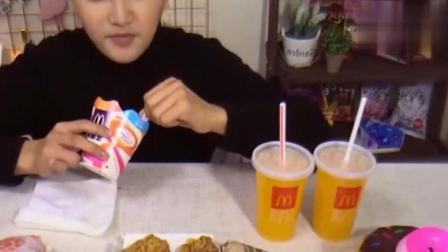 大胃王阿伦吃15个汉堡38份鸡翅10个麦旋风, 你猜吃完没?