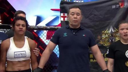 中国女将太生猛了, 骑在对手身上重拳爆头, 裁判