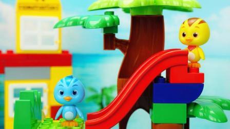 萌鸡小队积木新玩具 麦奇的趣味滑滑梯乐园