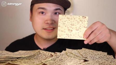 韩国吃播胖哥, 饿的直接吃纸片饼干了, 你们怎么看?
