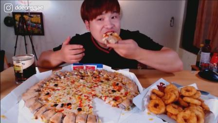 韩国大胃王胖哥, 吃巨无霸虾仁披萨、炸虾圈, 吃的太过瘾了