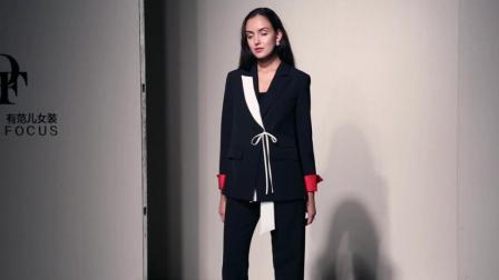 2018秋装新款 欧美时尚气质撞色干练宽松西装+宽松休闲长款套装
