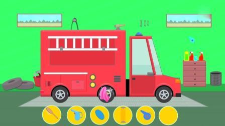 汽车动画 消防车 太脏了 到洗车行 洗澡 少儿动画 儿童动漫