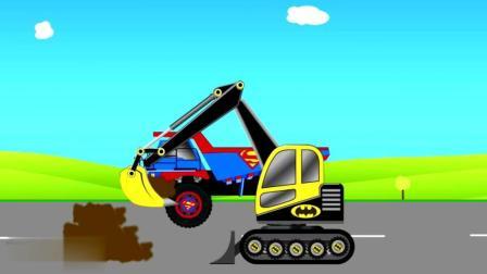 汽车工程车动画 挖掘机和大卡车 拼装完成后开始 工作 少儿动画