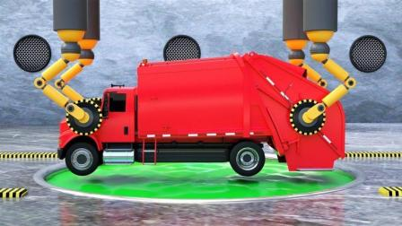 环保车小汽车玩具进入染料池变成不同的颜色