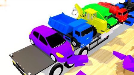 汽车游戏 汽车入位置染色 垃圾车 救护车 校车 小汽车 水泥车