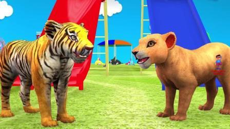 动物们在游乐场娃耍 冰箱叔叔来送 西瓜和冰淇淋动画片