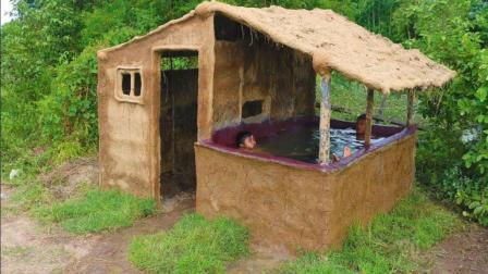 盖一个带泳池的泥土房, 成功解决防水问题, 网友表示羡慕不已