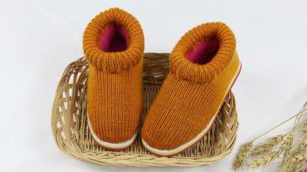 毛线棉鞋编织视频,前面起针鞋口圈织棉鞋