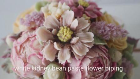 韩式裱花蛋糕艺术, 毛茛, 波斯菊, 芍药