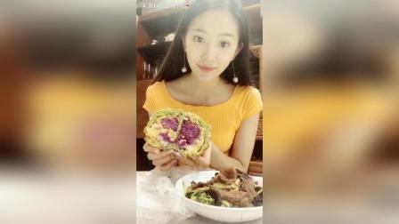 紫薯芋泥肉松全麦面包+炒菜, 面包天天吃不够直播吃东西#