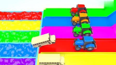色彩 学习 彩色拖拉机把白色校车推到颜料池子 少儿卡通动漫