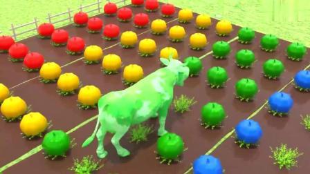 色彩学习 播种机 种出蔬菜 被奶牛吃掉了 少儿 卡通 动漫