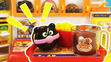 兜糖面包超人玩具 42 面包超人汉堡店便利店过家家玩具制作超豪华汉堡套餐
