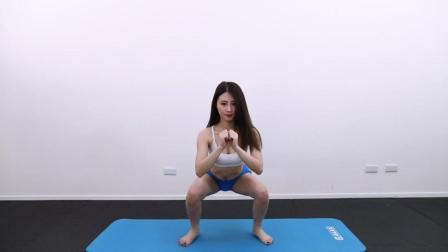 美女示范4个深蹲变化来减肥