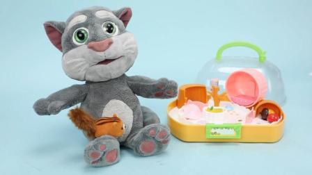 趣盒子会说话家族亲子早教 会说话家族汤姆猫的新宠物小小花栗鼠猫和老鼠友好相处亲子早教